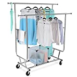 LANGRIA Commercial Grade Clothing Garment Rack Adjustable Double Rail Rolling, Heavy Duty Extensible Clothes Hanging Rack, Chrome Finish
