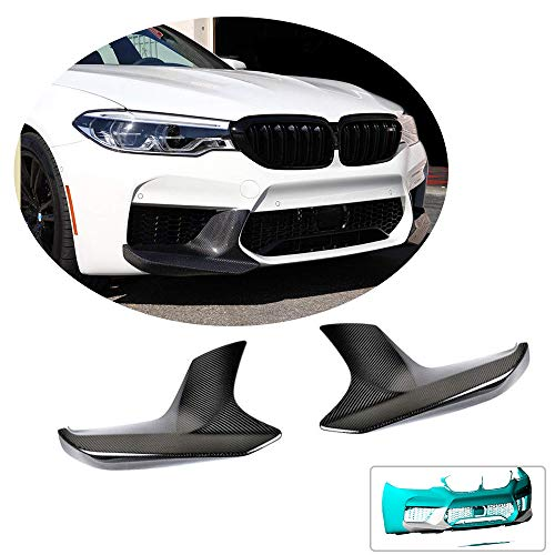(MCARCAR KIT Front Bumper Splitter fits BMW 5 Series F90 M5 Sedan 2018-2019 Customized Performance Look Carbon Fiber CF Moulding Upper Spoiler Winglets Vents Cover Flaps)