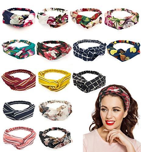 (Adramata 15 Pcs Boho Floral Headbands for Women Girls Turban Elastic Head Bands Wrap Twisted Cute Hair Accessories)