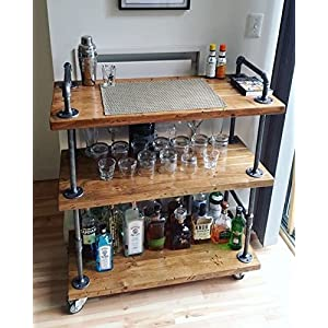 WGX Wood and Metal Wine Rack with Wheels Kicthen Bar Dining Room Tea Wine Holder Serving Cart Furniture