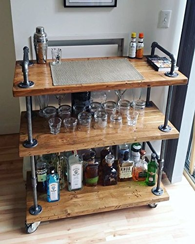 Amazoncom Wgx Wood And Metal Wine Rack With Wheels Kicthen Bar