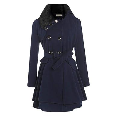 70899a45434a3 Baijiaye Long Manteau Laine pour Femmes Hiver Col Fourrure Cintrée Trench  Coat Bas Jupe avec Ceinture