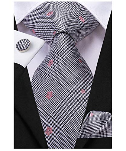 Dubulle Mens Black Designer Tie and Handkerchief Set Silk Woven Designer Neck Tie