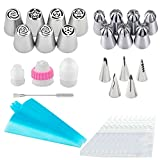 Russian Piping Tips Set of 35 Pcs, Piping Nozzles Tips Fondant Cake Decorating Flower Frosting Tips, Baking Tools Kit, Extra 3 Reusable Silicone Pastry Bags, 10 Disposable Bags, 3 couplers, 1 Brush