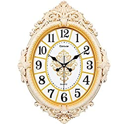 GuoEY Living Room Silent Wall Clock European Style Oval Quartz Clock Creative Fashion Wall Clock Personality Linked To The Table (Color : #1)
