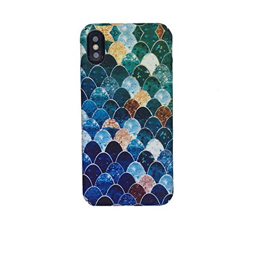 Lovely Blue Mermaid Fish Scale Hard PC Protective Back Cover Case For iphone 6 6s 7 Plus (Fish Phone Case Iphone 4)