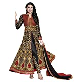 Fab Glory Womens Georgette Embroidery Semi Stitched Anarkali Salwar Suit