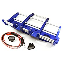 Integy RC Model Hop-ups C27116BLUE CNC Alloy Front Bumper w/ LED for Tamiya 1/14 King Hauler & Globe Liner