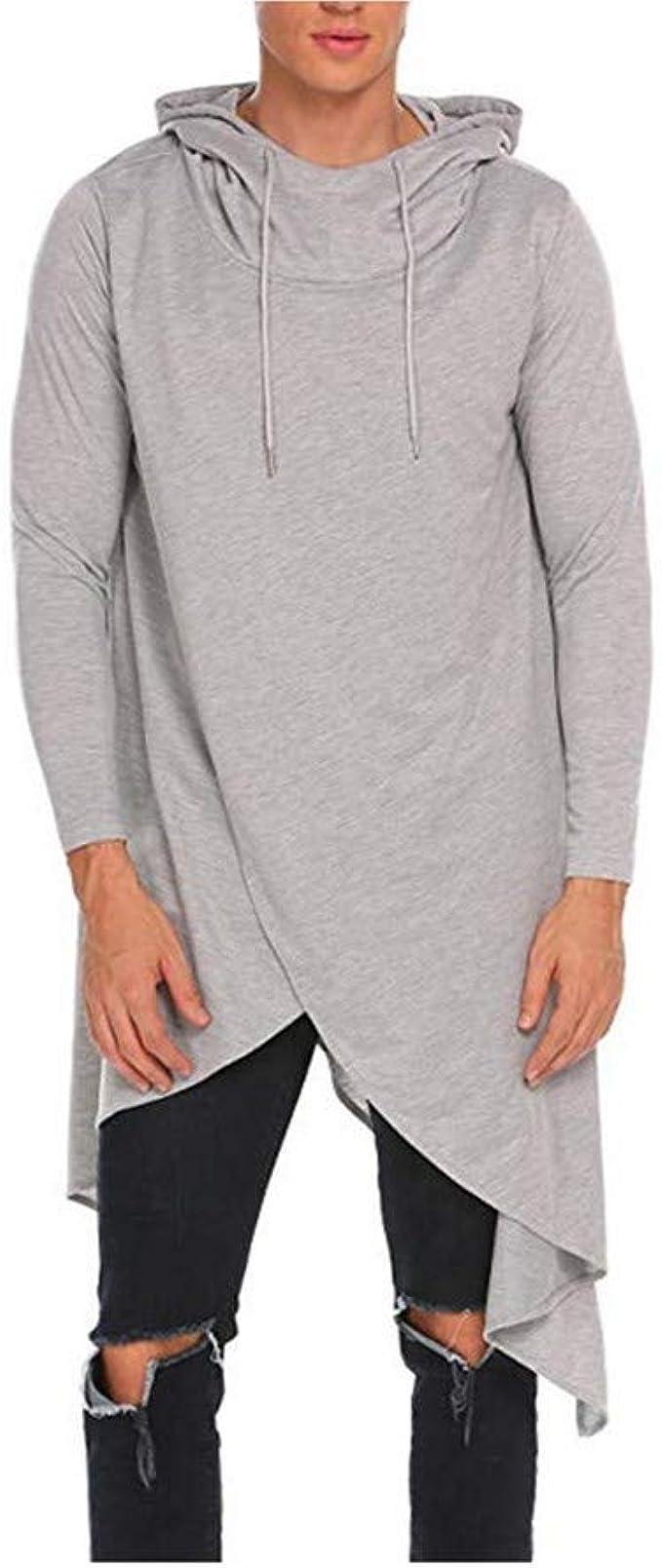 YEZIJIANG Homme Casual Sweat à Capuche T Shirts à Manches Longues Tops Hommes Asymétrie Pullover Pull à Capuche Longsleeve Sweatshirt Veste Basic col