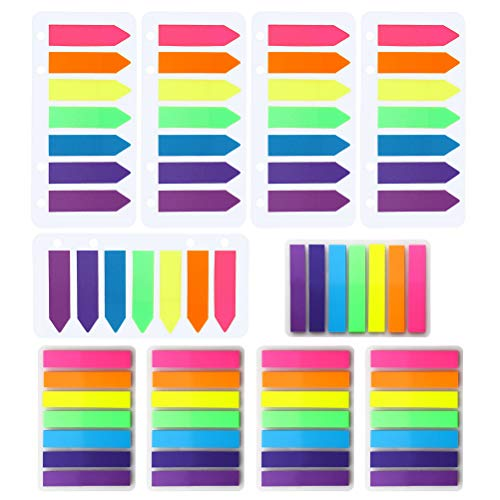 Pengxiaomei 1400 Pcs Page Markers, 5 140Pcs Rectangle Tabs and 5 140Pcs Arrow Tabs Neon Sticky Tabs Fluorescence Page Index Tabs Flags for Book Markers Highlight Key Points