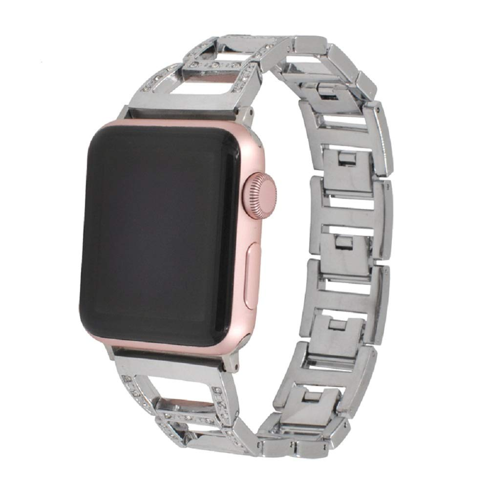 Juzzhou Watch Band For Apple iWatch Series 1/2/3 Sport Stainless Steel Pearls Replacement Wriststrap Watchband Wristband Bracelet Wrist Guard Strap With Buckle Metal Adapter For Women Men Silver 42mm