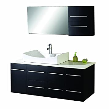 Virtu USA MS 430 S ES Ceanna 54 Inch Wall Mounted Single Sink   Virtu USA MS 430 S ES Ceanna 54 Inch Wall Mounted. 54 Inch Bathroom Vanity Single Sink. Home Design Ideas