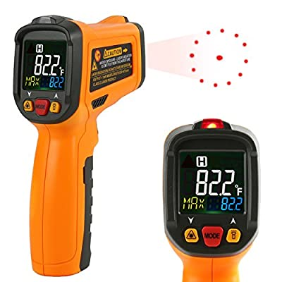 Infrared thermometer Janisa PM6530B Digital Laser Thermometer Non Contact Kitchen Thermometer Temperature Gun Color Display -58°F~1022°F With 12 Point Aperture Temperature Alarm Function from Janisa