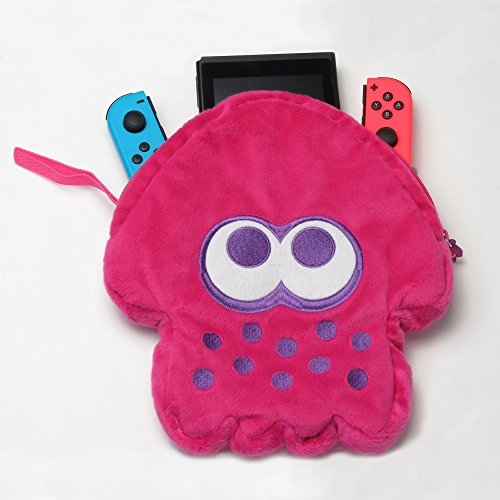 HORI Splatoon 2 Squid Plush Pouch (Neon Pink) Officially Licensed – Nintendo Switch