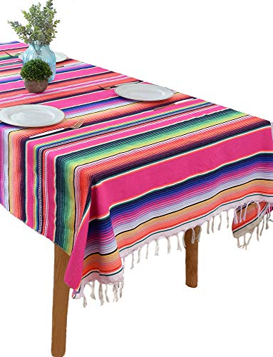 BOXAN Mexican Serape Blanket Tablecloth for Rustic Mexican Wedding Party Decorations, 59 x 84 inch Bright & Colorful Cotton Saltillo Serape Blanket]()