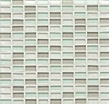 Bedrosians GLSHAMSPAMBPGB ''Hamptons Glass'' Mosaic with Mini Brick in Gloss Blend, 11'' x 11'', Spa