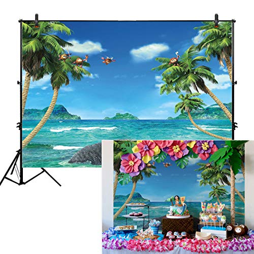 Allenjoy 10x8ft Summer Beach Themed Backdrops for Photography Blue Sky Ocean White Cloud Background Tropical Palm Trees 1st Birthday Baby Shower Children Hoilday Photo Booth Tapestry Party Supplies -