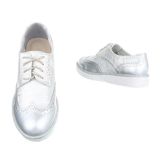 Damen Halbschuhe Schuhe Schnürer Elegant Gold 36 1Mvj7
