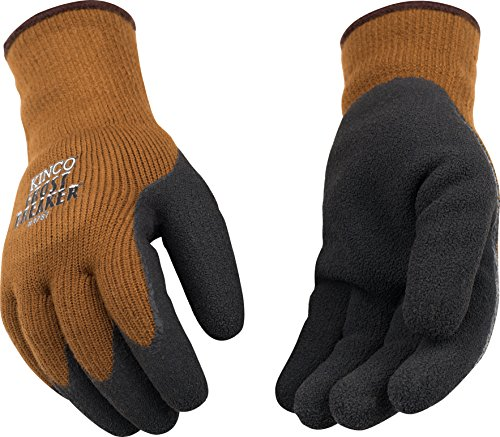 (Kinco 1787-L-1 Brown heavy 100% acrylic thermal knit shell, Foam latex coated palm, Elastic knit wrist, Size: L)