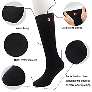 Unisex Rechargeable Battery Electric Heated Socks Kit, Thick Knitting Thermal Sox Care Chronically Cold Feet, Winter Warm Cotton Crew Socks for Outdoor Hunting Motorcycling Hiking Skiing, Free Size (b