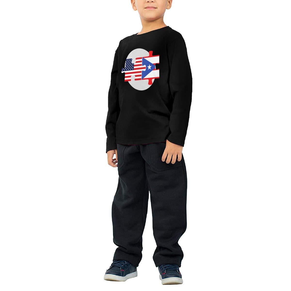 Little Boys U.S and Puerto Rico Flags ComfortSoft Long Sleeve T-Shirt