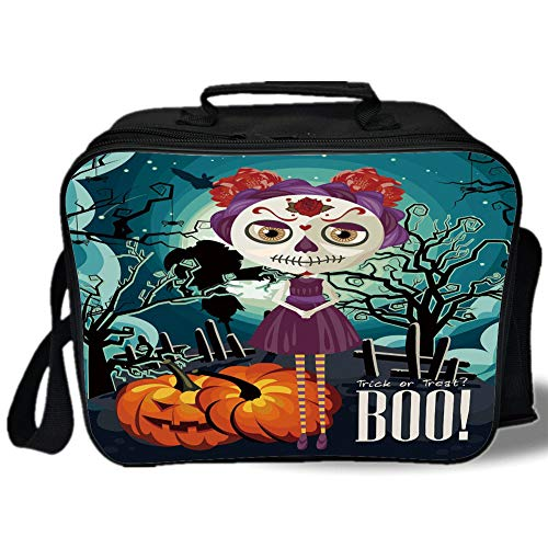 Halloween 3D Print Insulated Lunch Bag,Cartoon Girl with Sugar Skull Makeup Retro Seasonal Artwork Swirled Trees Boo Decorative,for Work/School/Picnic,Multicolor -