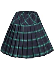 Urban CoCo Women's Elastic Waist Tartan Plaid Pleated School Skirt