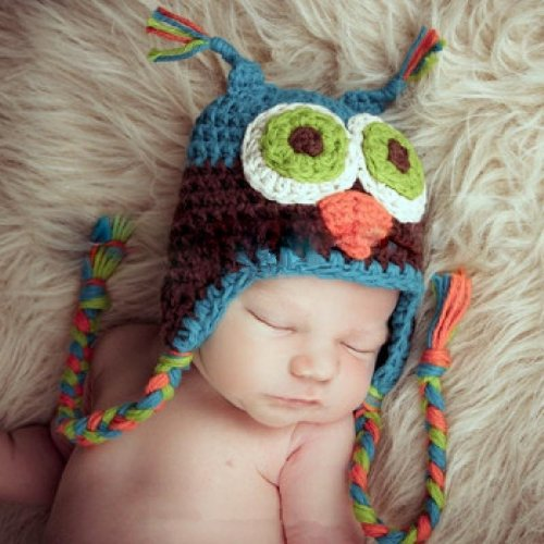 Newborn Baby Knit Cotton Hat Handmade Beanie Owl Cap (Blue/Brown)