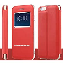 Vandot Apple Iphone 6 6s 4.7 inch Flip Folio Case,Premium Ultra Slim Touch Series View Window Stand Case Pattern PU leather Soft TPU Silicone Bumper Back Cover Shell with Metal Sensor-Red