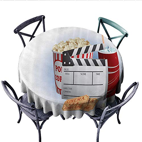 Movie Theater Customized Round Tablecloth Soda Tickets Fresh Popcorn and Clapper Board Blockbuster Premiere Cinema Waterproof Circle Tablecloths (Round, 54 Inch, ()