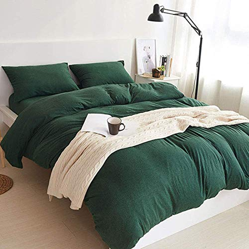 DOUH Jersey Knit Cotton Duvet Cover Set 3-Pieces Full Comforter Cover and Pillow Shams Ultra Soft Comfy Dark Green Solid Pattern Bedding Set Queen -
