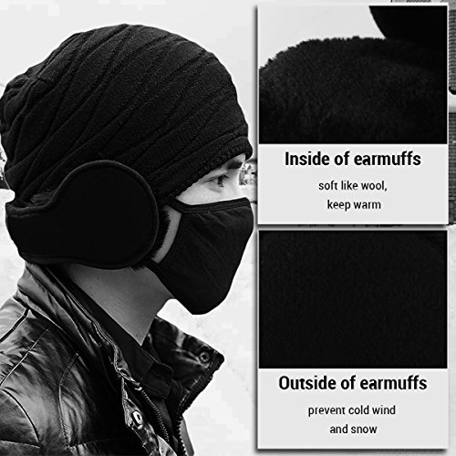MOCOFO-Unisex-Classic-Fleece-Earmuffs-Collapsible-Behind-The-Head-Ear-Muffs-Winter-Outdoor-Ear-Warmer-for-Women-and-Men-Black