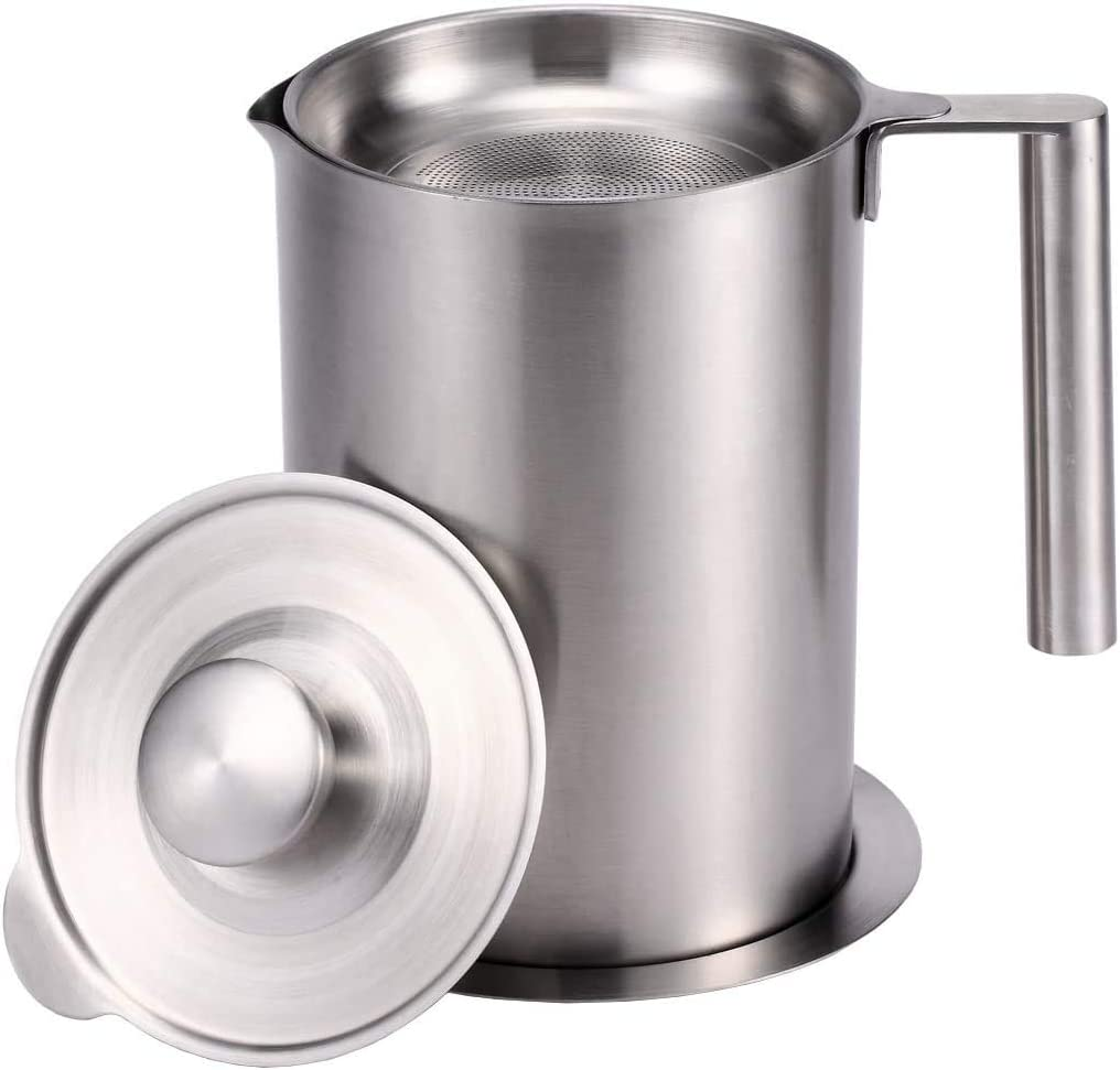 Grease Strainer 1.8L ,Stainless Steel Oil Container with Removable Filter - Dustproof Lid & Drip Proof Based - Bacon Grease Storage Can for Reusable Cooking Frying Oil, Fat (1.8L)