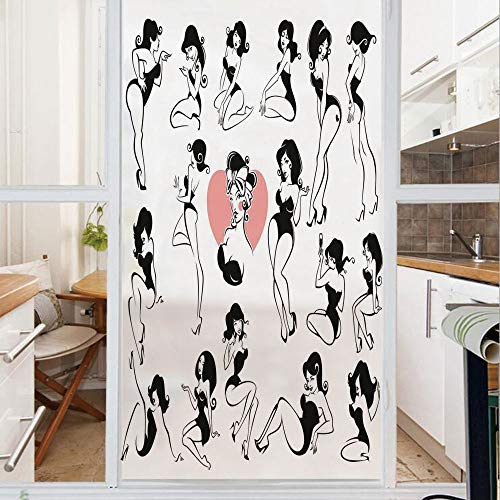 Decorative Window Film,No Glue Frosted Privacy Film,Stained Glass Door Film,Famous Sexy Girl Model Posing with Full Body Features Heart Tattoo on Thigh Make Up,for Home & Office,23.6In. by 59In Black