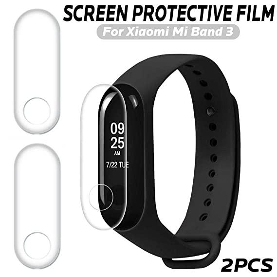 VOVI for Mi Band 3 Screen Protector with 2Pcs Screen Protective Film TPU Surface Nano-Explosion Film Scratch-Resistant for Xiaomi Band 3