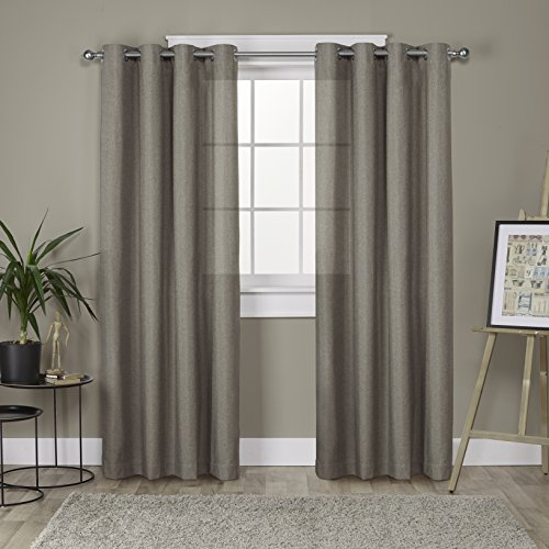 neutral curtains for living room floor length exclusive home curtains loha linen grommet top window curtain panel pair café 52x84 neutral for living room amazoncom
