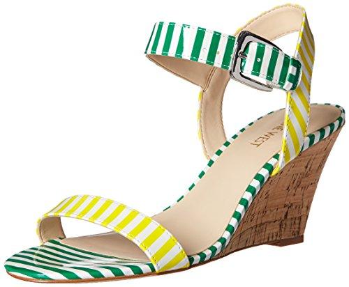 Nine West Kiani sintético cuña de la sandalia White/Yellow/White/Green
