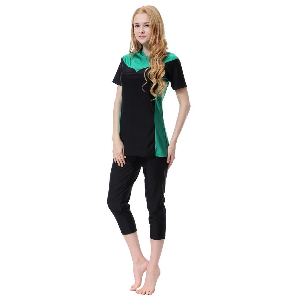 cf1b239596 P Prettyia Muslim Ladies Swimsuit Modest Swimwear Islamic Swimming Tops  Pants Costume Swim Maillot Burkini: Amazon.co.uk: Clothing