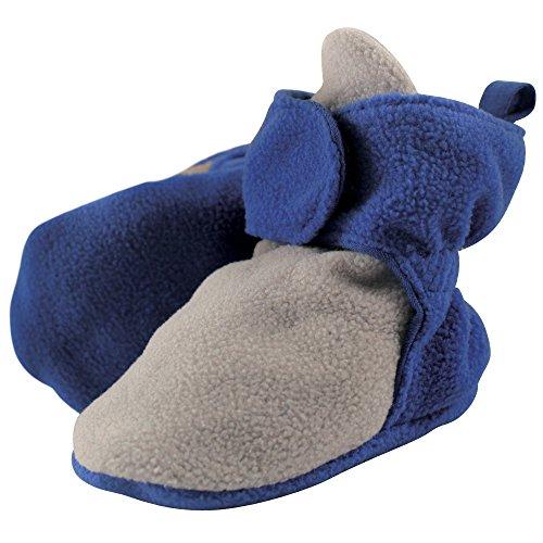 Luvable Friends Baby Cozy Fleece Booties, Gray/Blue, 6-12 Months - Luvable Friends Slip
