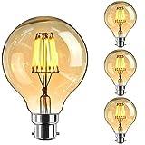 Bayonet Edison Bulbs, Elfeland 6W Vintage LED Energy Saving Bulbs Amber Glass Shell B22 Bayonet Cap LED Filament Dimmable Warm White Model G80 3pack (φ80mm)