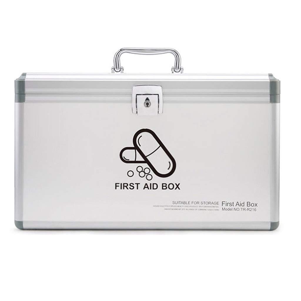 X-Large Djyyh Lockable 2 Layer Medical Box, First Aid Box Emergency Medicine Case Medicine Storage Box (Size   XL)