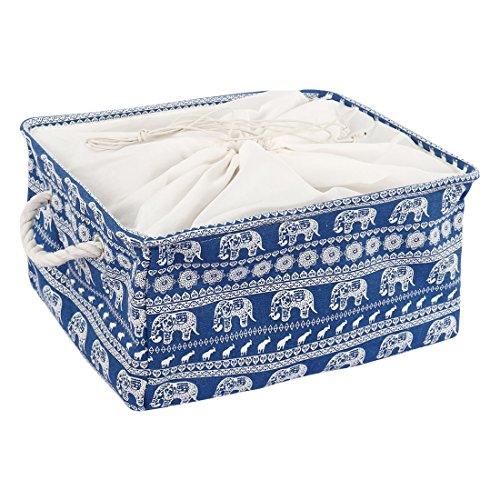 uxcell Large Storage Baskets, Foldable Storage Bins Toy Basket Laundry Clothes Towel Organizer w Drawstring Closure(Blue Elephant,L) (Storage Trunk Fabric)