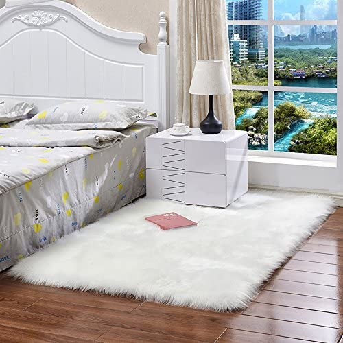 Faux Fur Kids Rugs for Playroom Chair Cover Seat Pad Plain Shaggy Area Rugs for Bedroom Sofa Floor White, 4ft x 4ft