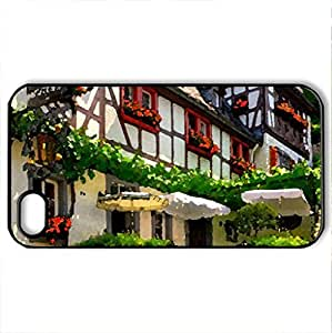 german villages - Case Cover for iPhone 4 and 4s (Houses Series, Watercolor style, Black)