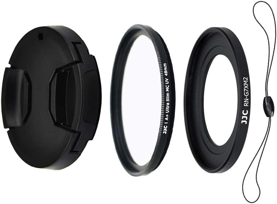 JJC Kit de Lentes para Canon Powershot G5X, G7X, G7X Mark II y G7X Mark III - Incluye Adaptador de Filtro de 49mm, Filtro UV, Tapa de Objetivo y Cadena de Tapa para Objetivo