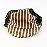 Striped Baseball Dog Hat 14-19'' Adjustable Chin Strap by Midlee (Large, Brown)