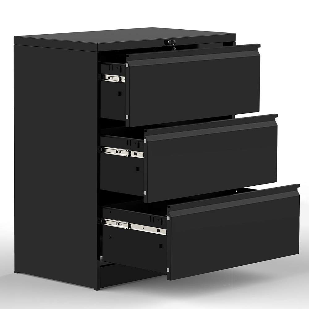 3 Drawers Lateral File Cabinet with Lock, Lockable Heavy Duty Filing Cabinet, Steel Construction (Black) by Modern Luxe