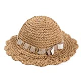 Lungfish Kids Sun Hat Short Brim Cap Grils Foldable Hats Summer Beach-Brown
