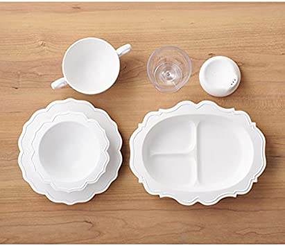 Reale Childrens Dinnerware Set Pale-White 5 Items Made from Japanese Bamboo Fiber recycable Material BPA-Free