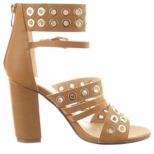 Sopily - Scarpe da Moda sandali Stivaletti - Scarponcini Aperto alla caviglia donna multi-briglia Perforato metallico Tacco a blocco tacco alto 9.5 CM - Cammello